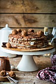 Crepe cake with nutella and sour cream