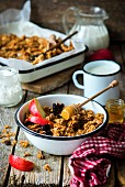 Honey granola in an enamel bowl