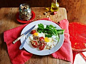 Fried eggs with savoury granola