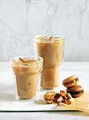 Iced coffee and macarons