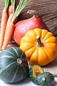 Various pumpkins and carrots