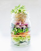 Vegetable salad with apple, edamame, herring and shoots in a glass jar