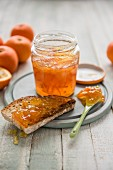 Homemade seville orange marmalade with a sourdough toasted bread