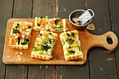 Puff pastry quiche with broccoli, leek and carrot