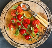 Plum Tomatoes with Basil