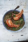Pork chops with puy lentils