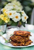 Sweet potato fritters with cream fraiche for Easter