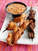 Sate beef chicken and pork
