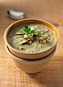 A bowl of stilton and leek soup