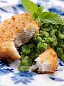 Fishcake and mushy peas