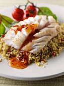 Steamed cod with sweet chili sauce and couscous