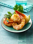 Barbecued curried prawns