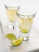Glasses of lime jelly
