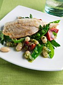 Sea bass with bean salad