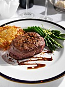 A plate of beef fillet steak and asparagus