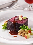 Medallion of venison red wine marinade editorial food