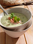 Cucumber avocado and prawn soup