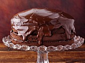Chocolate frosted layer cake made with stevia