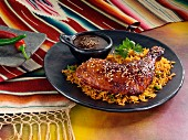 Lacquered chicken and red rice