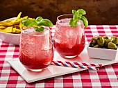 Blueberry basil lemonade spritzer