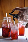 Old fashioned home made seltzer soda with raspberry syrup