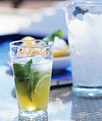 Refreshing drink with lime and mint