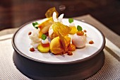 Mango and coconut dessert from the 'Fine Dining im Boettners' restaurant by Alfons Schuhbeck in Munich, Germany