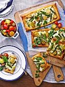 Three-cheese vegetable tart