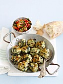 Spinach and ricotta Dumplings with Salsa