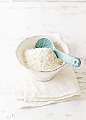 Organic wheat flour in a bowl