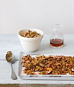 Homemade muesli with maple syrup