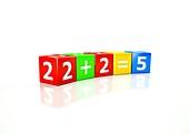 Cubes illustrating 2 plus 2 equals 5.