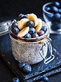 Overnight chia pudding with blueberies and banana