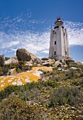A lighthouse on Cape Columbine on the West Coast of South Africa