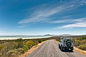 A view of the West Coast National Park and the green lagoon near Langebaan, South Africa