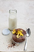 Vegan chia chocolate pudding with mango