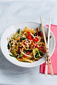 Fried noodles with vegetables and tofu
