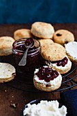 Scones with cream and lingonberries