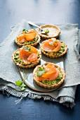 Thyme and salmon tarts