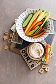 Vegetable sticks with dip for game night