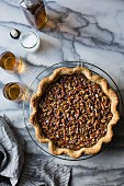 Salty bourbon pecan pie (gluten-free, with sorghum flour and sorghum syrup)