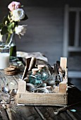 Vintage props on wooden table