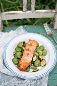 Roasted (oven-baked) salmon served with warm salad made of zucchini, broad beans and lemon thyme