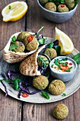 Falafel with Pita Bread and Yogurt Sauce