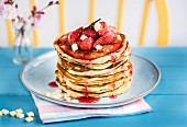 Strawberry white chocolate pancakes