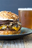 Cheese And Mushroom Burger with Beer