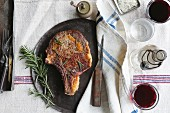 Porterhouse Steak with Rosemary and Red wine