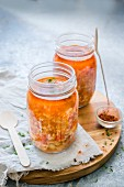 Hungarian cabbage soup in glass jars