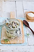 Mushroom risotto in a glass jar