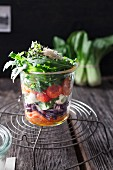 Layered salad with rocket, tomato, carrot, mustard cress, red cabbage, mozzarella, parsley and pak choi in a glass jar